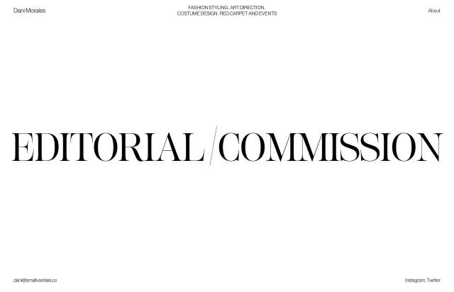Screenshot of the homepage of the minimal website Dani Morales, published on The Gallery on the 2020-05-06 and tagged with the tags personal, big typography, light, serif
