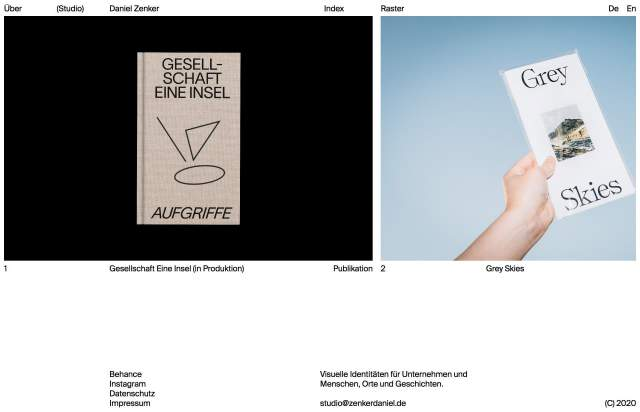 Screenshot of the homepage of the minimal website Daniel Zenker, published on The Gallery on the 2020-05-29 and tagged with the tags persona, portfolio, sans serif, black and white