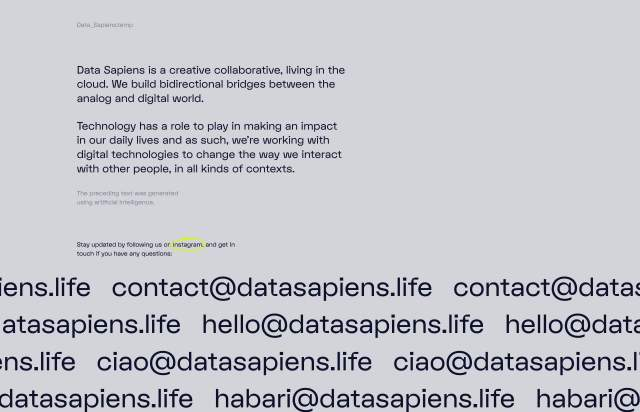 Screenshot of the homepage of the minimal website Data Sapiens, published on The Gallery on the 2020-01-10 and tagged with the tags onepage, studio, animations, sans serif, gray, single column
