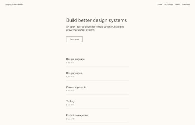 Screenshot of the homepage of the minimal website Design System Checklist, published on The Gallery on the 2020-01-21 and tagged with the tags tools, black and white, sans serif, resource