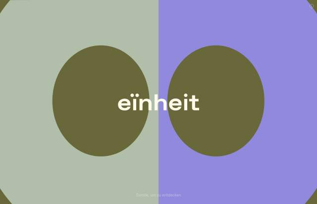 Screenshot of the homepage of the minimal website eïnheit, published on The Gallery on the 2020-10-26 and tagged with the tags art, event
