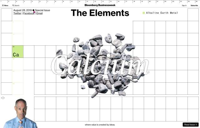 Screenshot of the homepage of the minimal website Elements, published on The Gallery on the 2020-01-29 and tagged with the tags article, interactive, long, serif, brutal