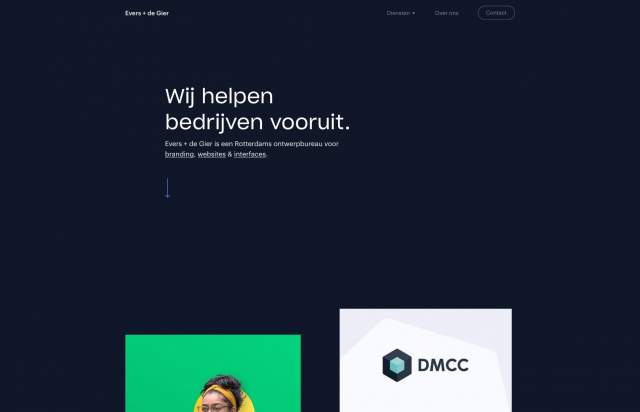 Screenshot of the homepage of the minimal website Evers + de Gier, published on The Gallery on the 2020-01-10 and tagged with the tags portfolio, dark, center aligned, sans serif, two columns