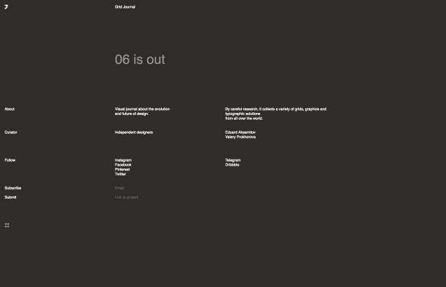 Screenshot of the homepage of the minimal website Grid Journal, published on The Gallery on the 2020-02-14 and tagged with the tags blog, columns, grid, graphic design, sans serif