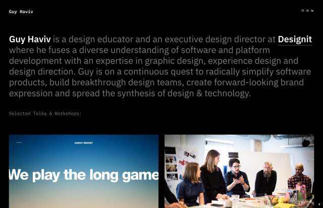Screenshot of the homepage of the minimal website Guy Haviv, published on The Gallery on the 2020-01-21 and tagged with the tags personal, portfolio, dark, single font, sans serif, two columns, grid