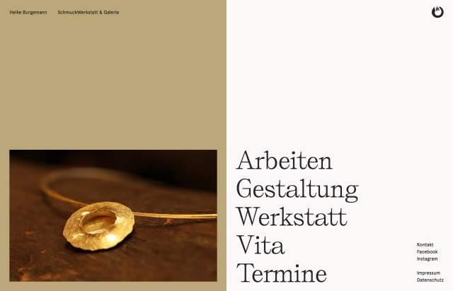 Screenshot of the homepage of the minimal website Heike Burgemann, published on The Gallery on the 2020-01-14 and tagged with the tags portfolio, gallery, jewellery, san serif, serif, two columns, unusual scroll