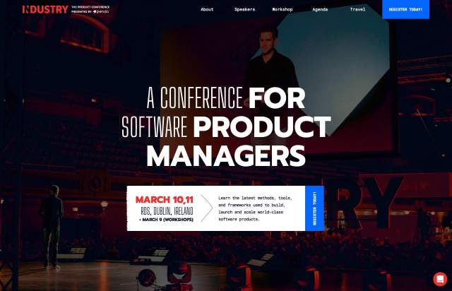 Screenshot of the homepage of the minimal website Industry, published on The Gallery on the 2020-02-14 and tagged with the tags event, conference, monospaced, illustrations, animations