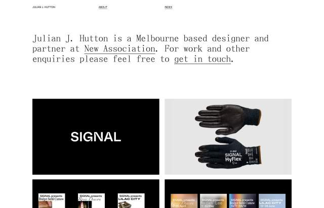 Screenshot of the homepage of the minimal website Julian J. Hutton, published on The Gallery on the 2020-01-21 and tagged with the tags personal,portfolio,grid,