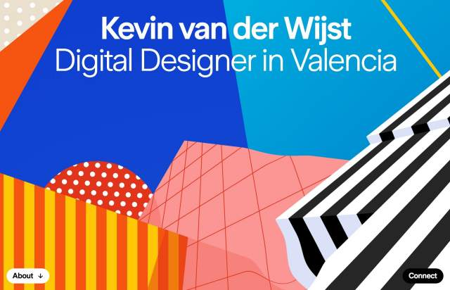 Screenshot of the homepage of the minimal website Kevin van der Wijst, published on The Gallery on the 2020-01-10 and tagged with the tags personal, sans serif, colourful, long, onepage