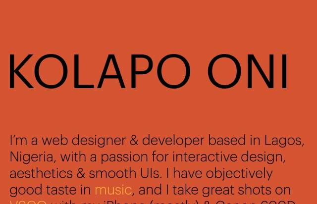 Screenshot of the homepage of the minimal website Kolapo Oni, published on The Gallery on the 2020-01-21 and tagged with the tags personal, colourful, sans serif, onepage, big typography