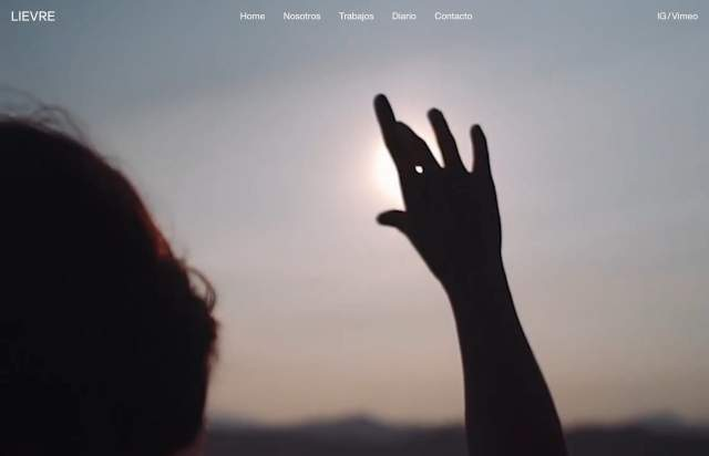 Screenshot of the homepage of the minimal website LIEVRE, published on The Gallery on the 2020-02-14 and tagged with the tags portfolio, studio, video, grid, fullscreen, custom cursor