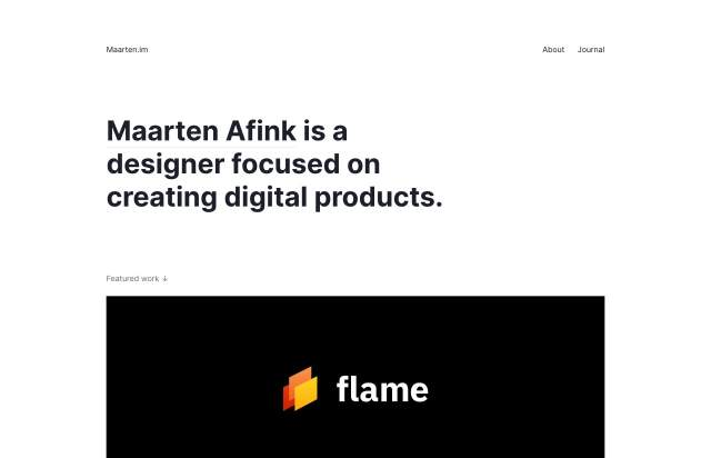 Screenshot of the homepage of the minimal website Maarten Afink, published on The Gallery on the 2020-01-29 and tagged with the tags personal, portfolio, sans serif