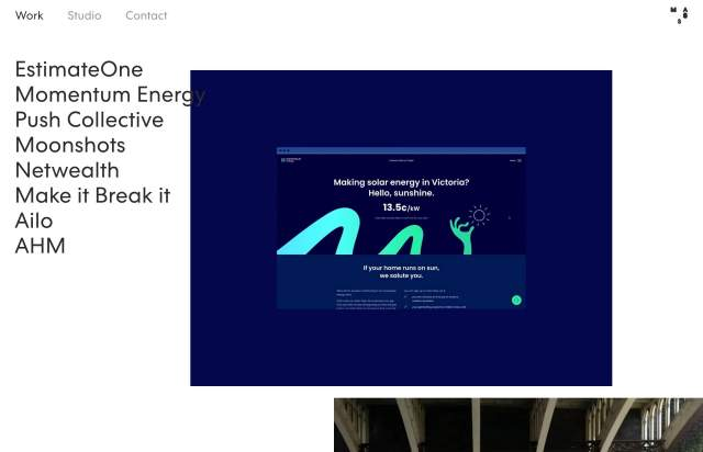 Screenshot of the homepage of the minimal website MASS, published on The Gallery on the 2020-05-28 and tagged with the tags portfolio, studio, sans serif