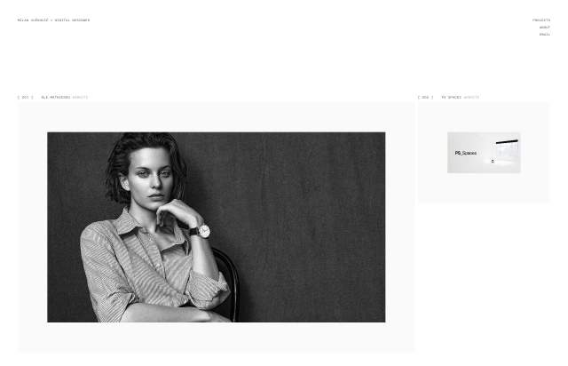 Screenshot of the homepage of the minimal website Milan Vučković, published on The Gallery on the 2020-11-12 and tagged with the tags portfolio, personal, minimal