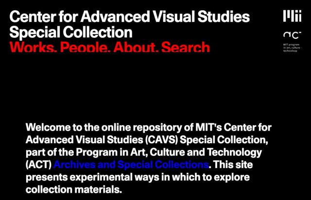 Screenshot of the homepage of the minimal website MIT CAVS, published on The Gallery on the 2020-02-14 and tagged with the tags dark, sans serif, unusual scroll, 3d, animations