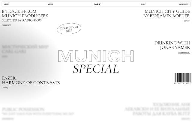 Screenshot of the homepage of the minimal website Munich Special, published on The Gallery on the 2020-01-29 and tagged with the tags blog, magazine, stories, brutal, animations