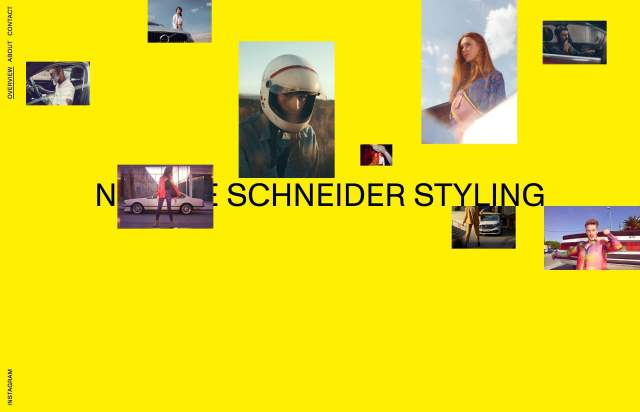 Screenshot of the homepage of the minimal website Natalie Schneider Styling, published on The Gallery on the 2020-09-10 and tagged with the tags personal, portfolio, colourful
