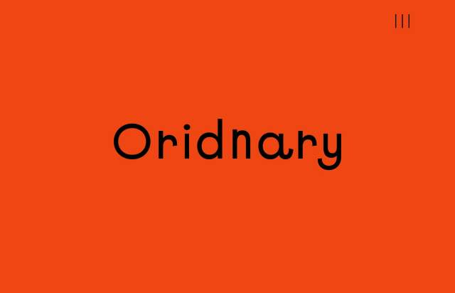 Screenshot of the homepage of the minimal website Oridnary, published on The Gallery on the 2020-02-14 and tagged with the tags portfolio, studio, colourful, animations, sans serif, custom cursor