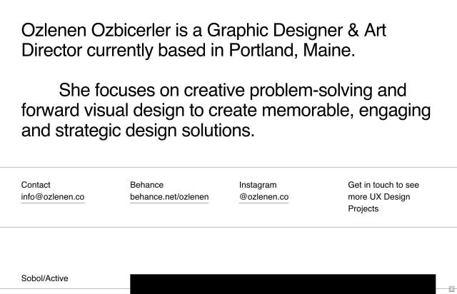 Screenshot of the homepage of the minimal website Ozlenen Ozbicerler, published on The Gallery on the 2020-02-14 and tagged with the tags portfolio, personal, sans serif, big typography