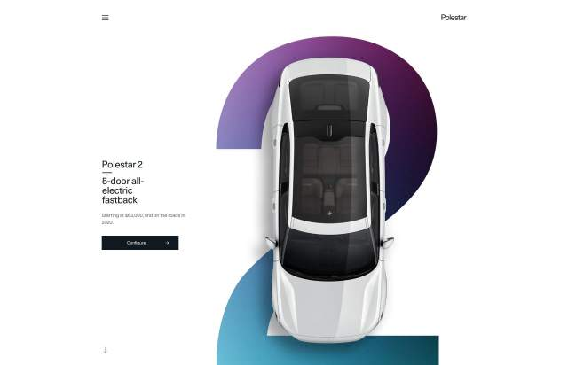 Screenshot of the homepage of the minimal website Polestar 2, published on The Gallery on the 2020-02-14 and tagged with the tags product, sans serif, light, car, industrial design