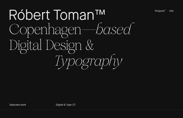 Screenshot of the homepage of the minimal website Robert Toman, published on The Gallery on the 2020-04-16 and tagged with the tags personal, portfolio, black, big typography