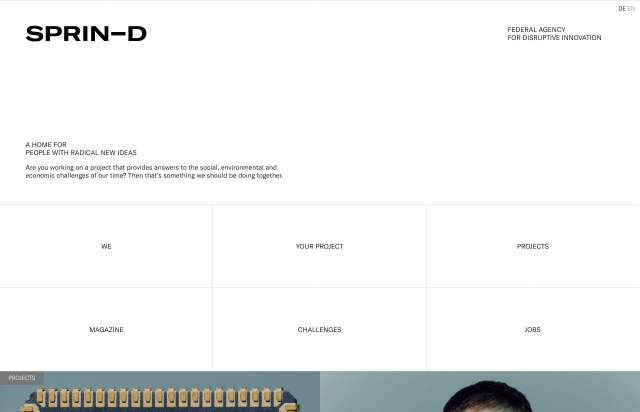Screenshot of the homepage of the minimal website Sprin-D, published on The Gallery on the 2020-09-10 and tagged with the tags portfolio, studio, light