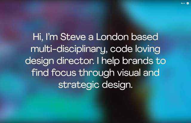 Screenshot of the homepage of the minimal website Steve Rawlings, published on The Gallery on the 2020-05-28 and tagged with the tags personal, center aligned, sans serif, gradient