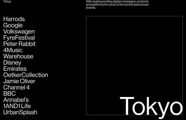 Screenshot of the homepage of the minimal website Tokyo, published on The Gallery on the 2020-04-16 and tagged with the tags portfolio, studio, black, typographic