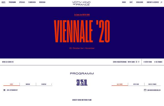 Screenshot of the homepage of the minimal website Votiv Kino De France in Wien, published on The Gallery on the 2020-10-26 and tagged with the tags colourful