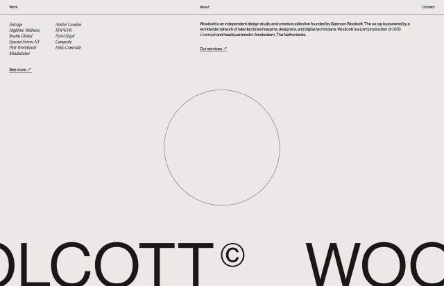Screenshot of the homepage of the minimal website Woolcott, published on The Gallery on the 2020-11-12 and tagged with the tags portfolio, typographic, custom cursor