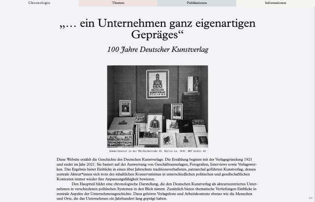 Screenshot of the homepage of the minimal website 100 Jahre Deutscher Kunstverlag, published on The Gallery on the 2021-07-14 and tagged with the tags long, publication, typographic