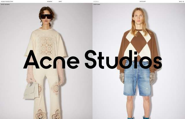 Screenshot of the homepage of the minimal website Acne Studios, published on The Gallery on the 2021-06-17 and tagged with the tags portfolio, studio