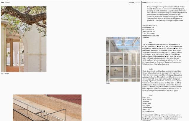 Screenshot of the homepage of the minimal website Bajet Giramé, published on The Gallery on the 2021-09-15 and tagged with the tags portfolio, architecture