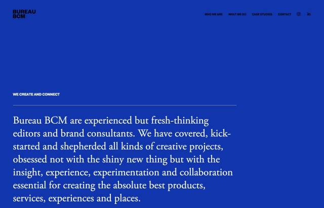 Screenshot of the homepage of the minimal website Bureau BCM, published on The Gallery on the 2021-07-14 and tagged with the tags portfolio, blue, serif