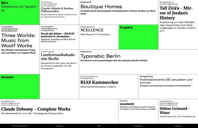 Screenshot of the homepage of the minimal website Byro, published on The Gallery on the 2021-02-16 and tagged with the tags grid, green, studio