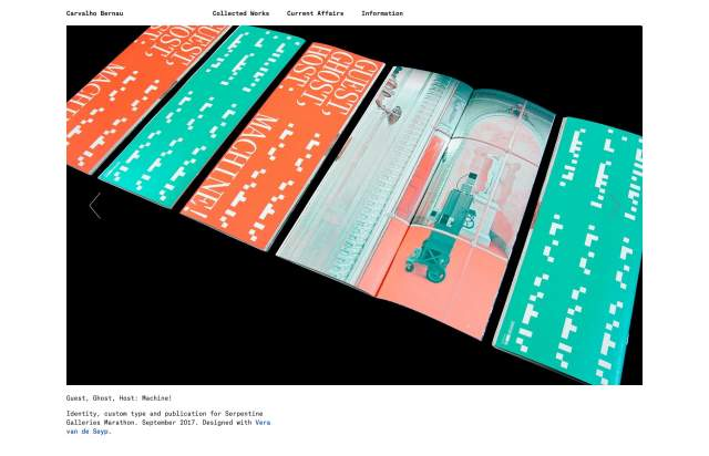 Screenshot of the homepage of the minimal website Carvalho Bernau, published on The Gallery on the 2021-06-17 and tagged with the tags portfolio, single column