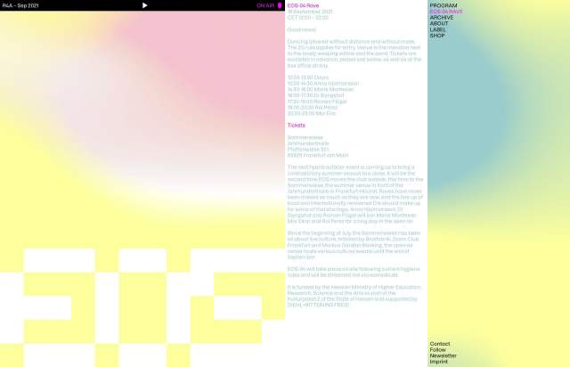 Screenshot of the homepage of the minimal website EOS Radio, published on The Gallery on the 2021-09-15 and tagged with the tags music