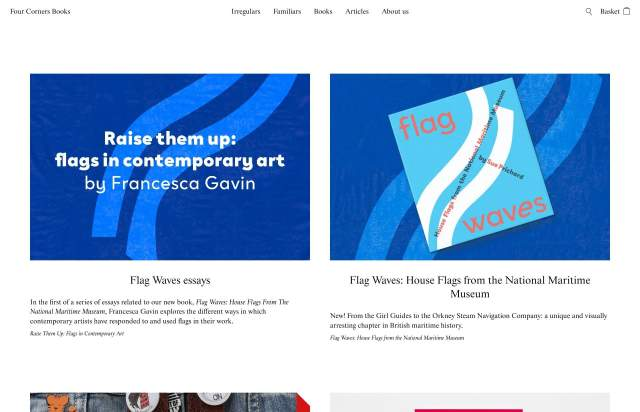 Screenshot of the homepage of the minimal website Four Corners Books, published on The Gallery on the 2021-06-17 and tagged with the tags publisher, editor, books