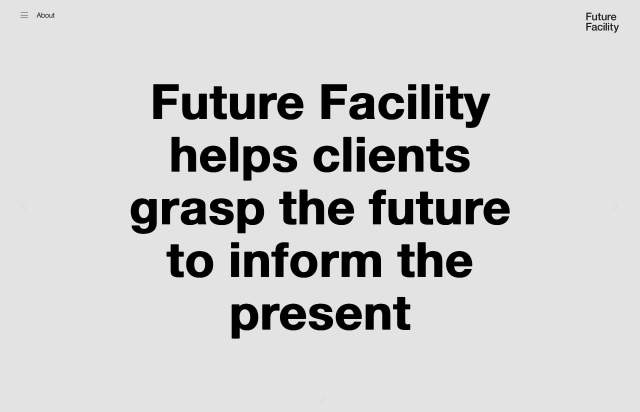 Screenshot of the homepage of the minimal website Future Facility, published on The Gallery on the 2021-07-14 and tagged with the tags portfolio, studio