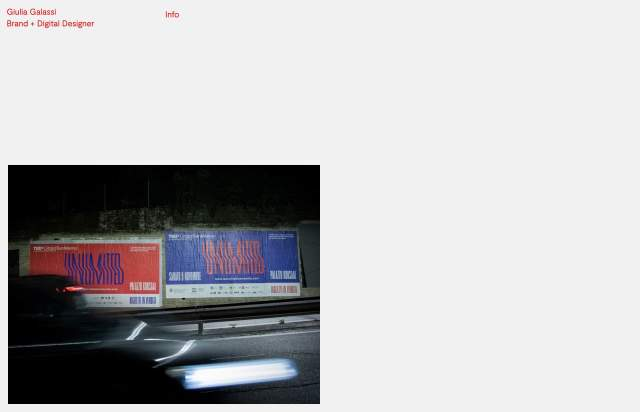 Screenshot of the homepage of the minimal website Giulia Galassi, published on The Gallery on the 2021-06-17 and tagged with the tags personal, portfolio, minimal, red