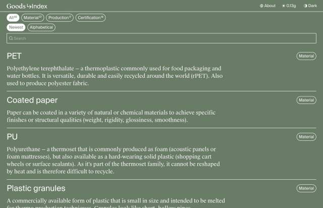 Screenshot of the homepage of the minimal website Good Index, published on The Gallery on the 2021-07-01 and tagged with the tags list, resource, green