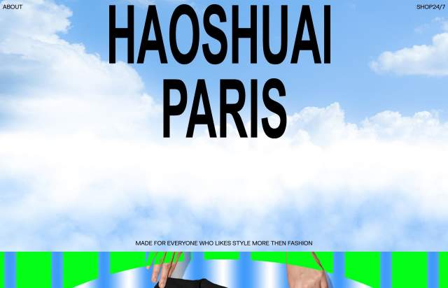 Screenshot of the homepage of the minimal website HAOSHUAI PARIS, published on The Gallery on the 2021-09-15 and tagged with the tags brutal, fashion
