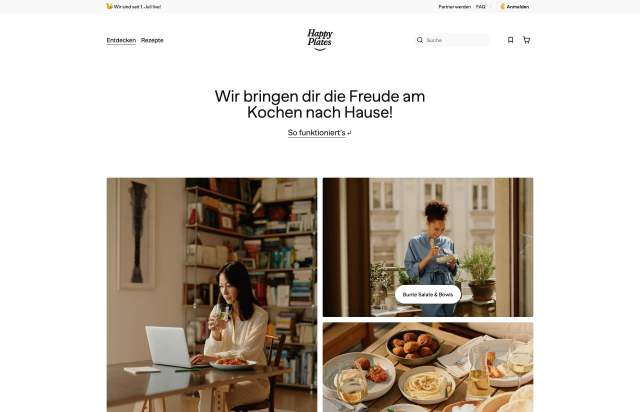 Screenshot of the homepage of the minimal website Happy Plates, published on The Gallery on the 2021-07-14 and tagged with the tags food, blog