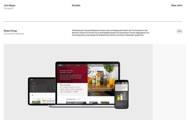 Screenshot of the homepage of the minimal website Jörn Beyer, published on The Gallery on the 2021-04-27 and tagged with the tags portfolio, personal