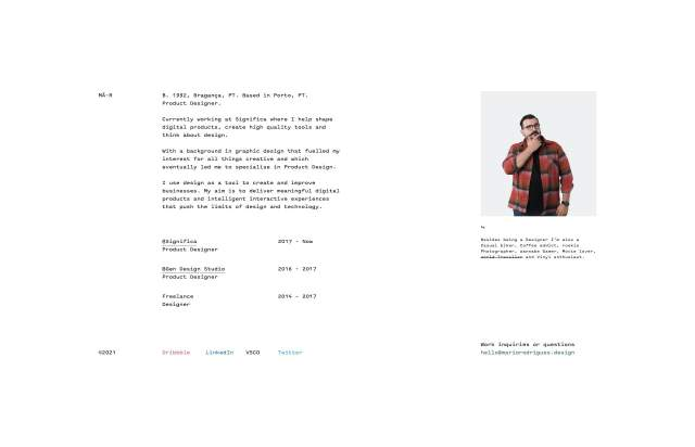 Screenshot of the homepage of the minimal website Mario Rodrigues, published on The Gallery on the 2021-02-16 and tagged with the tags personal, monospace