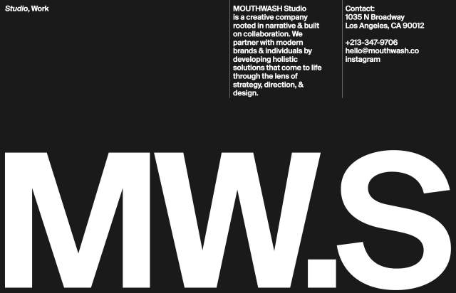 Screenshot of the homepage of the minimal website Mouthwash Studio, published on The Gallery on the 2021-04-27 and tagged with the tags portfolio, studio, list, dark