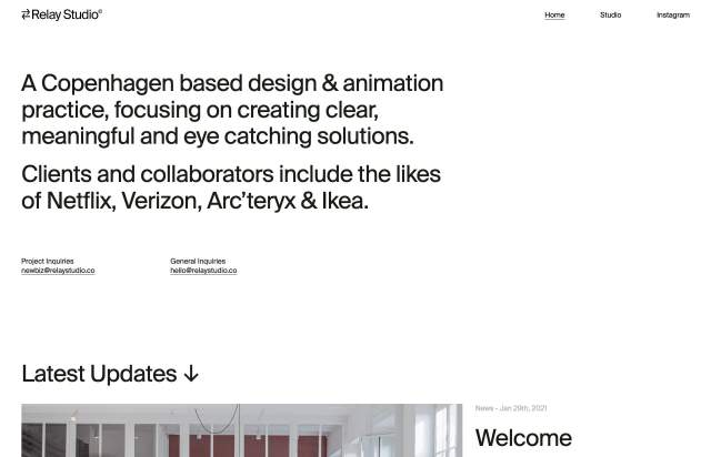 Screenshot of the homepage of the minimal website Relay Studio, published on The Gallery on the 2021-04-07 and tagged with the tags portfolio, studio