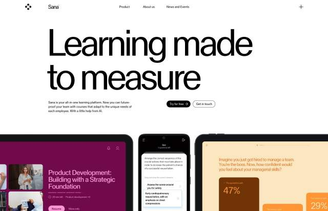 Screenshot of the homepage of the minimal website Sana Labs, published on The Gallery on the 2021-07-14 and tagged with the tags company, ai