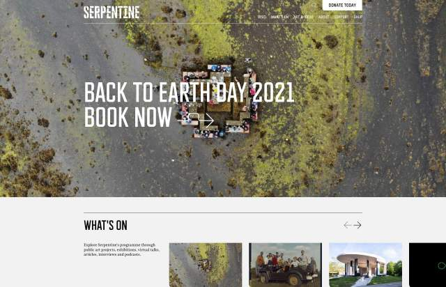 Screenshot of the homepage of the minimal website Serpentine, published on The Gallery on the 2021-06-17 and tagged with the tags art, institute