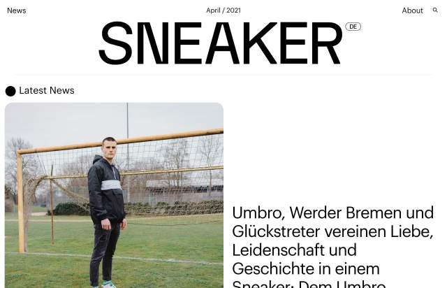 Screenshot of the homepage of the minimal website Sneaker, published on The Gallery on the 2021-04-27 and tagged with the tags sneakers, big typography